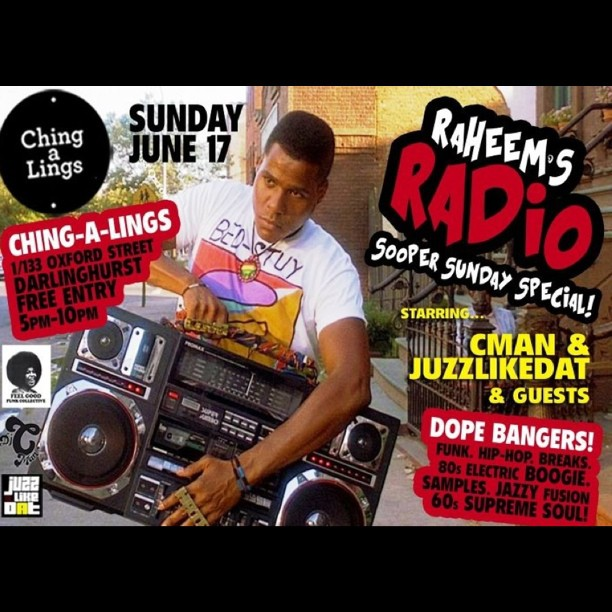 RADIO RAHEEM'S SUNDAY SPECIAL Today @ Chiga A Lings Feat. DJ's C-man, Juzzlikedat + Friends