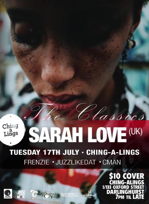 HIP HOP; Sarah Love @ Ching A Lings + Local Support  by Shan Frenzie, C-man,  DJ Juzzlikedat (10.7.12)