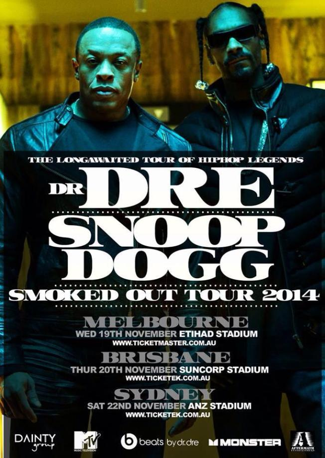 Snoop Dogg, Dr Dre Sydney Tour Concert Flyer, Tickets