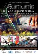 flyer front 4elements hiphop festival bankstown vyva entertainment byds